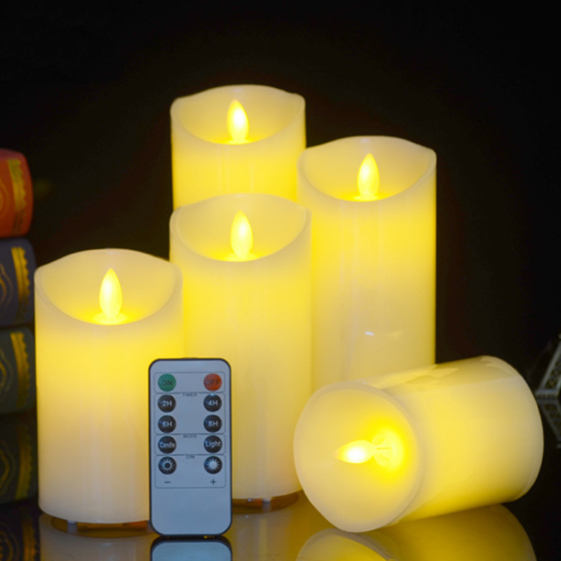 Flameless Candles, 4 5 6 7 8(3 D) Set of 5 Dancing LED Flames candle and 10 key Remote Control Remote and Timer Real Wax