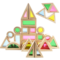 24pcs Big Size Transparent Acrylic Rainbow Blocks DIY Creative Geometry Assembly Wooden Building Blocks Toys for Children Gifts