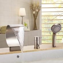 Современная ванная комната широкое 3 шт. водопад роман ванна ванна кран матовый никель