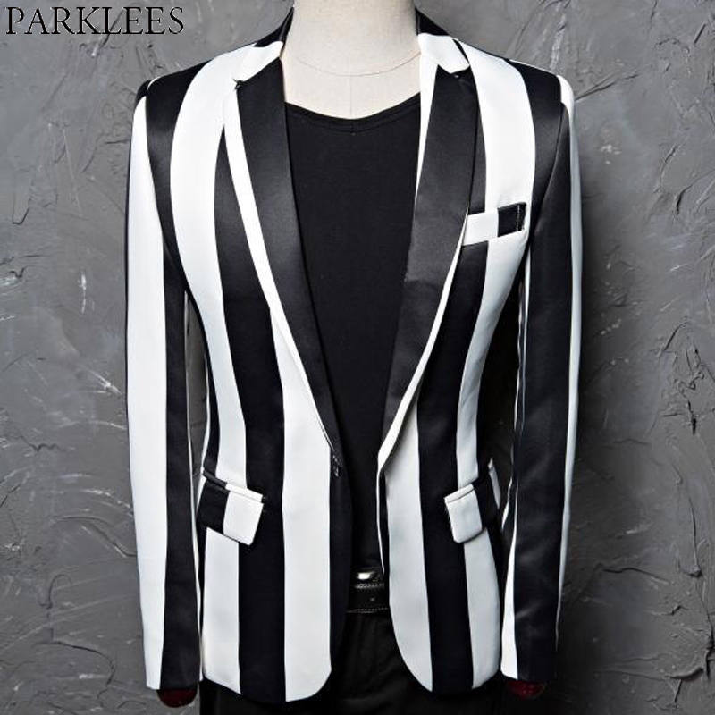 Black White Striped Blazer Jacket Men 2019 Brand One Button Slim Club Bar Party Suit Jacket Male Stage Rock and Roll Costumes
