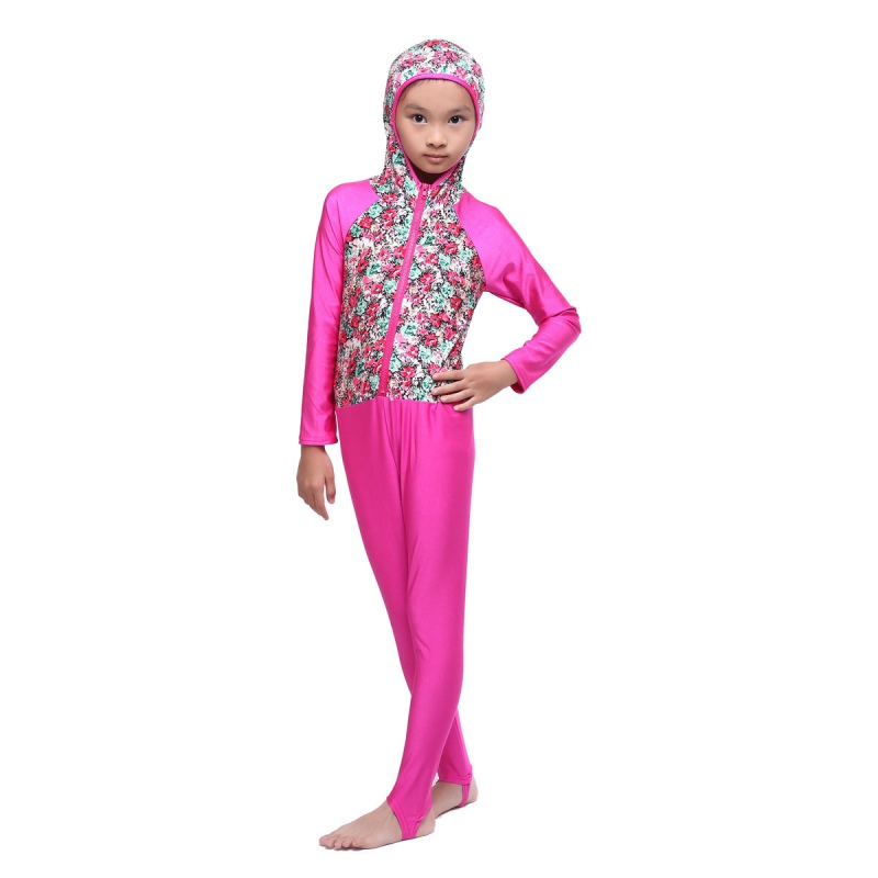 2017 Islamic font b Muslim b font Kids Girls Flower Printed Full Cover Conservatism Swimwear Beachwear