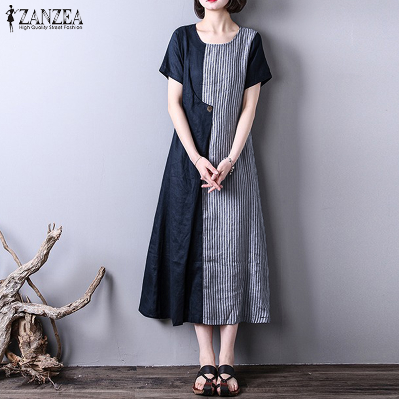 a9704ae93a1 2018 Summer Striped Dress ZANZEA Women O Neck Short Sleeve Casual Loose  Patchwork Vintage Vestido Cotton