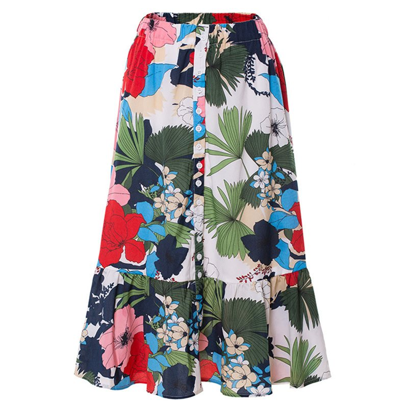 Summer Beach Floral Print High Waist Skirt Women A Line 2019 Boho Flower Elegant Button Stylish Split Female Autumn Midi Skirts(China)