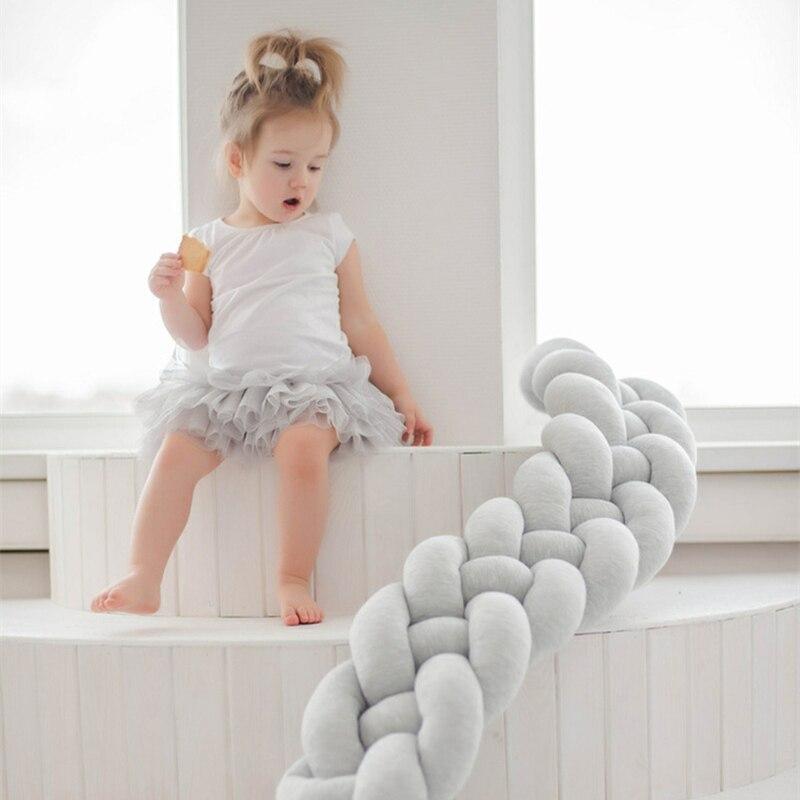 200CM Nordic Baby Crib Bumper Knots Newborn Bed Pad Bar Protection Cot Bumpers Bedding Bedroom Accessories Infant Room Decor