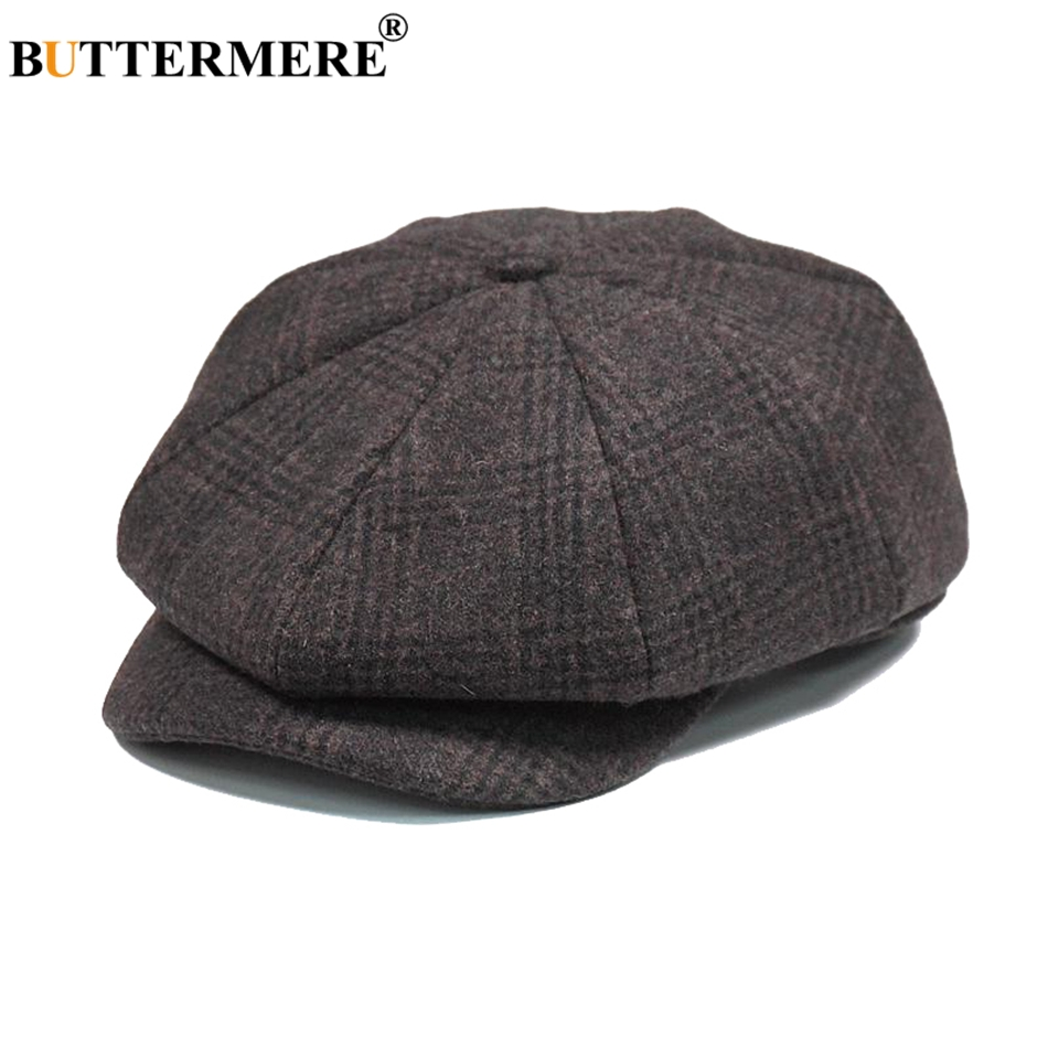 c90cf9e624f Dropwow BUTTERMERE Mens Plaid Flat Beret Cap Wool Brown Winter Autumn Vintage  Newsboys Hats Male British Cabbie Octagonal Gatsby Caps