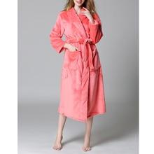 Flannel mens bath robe couple sleepwear solid bathrobes plus size women fur robe warm winter pajamas long sleeve men robe Da5404