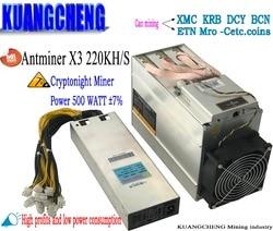 Antiguo 80-90% CrptoNight Antminer X3 220KH/s usado con PSU asic miner XMC miner ETN minero que antminer S9 z9 z11 s17 de baja potencia