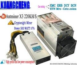Oude 80-90% gebruikt CrptoNight Antminer X3 220KH/s Met PSU asic mijnwerker XMC mijnwerker ETN mijnbouw dan antminer S9 z9 z11 s17 low power