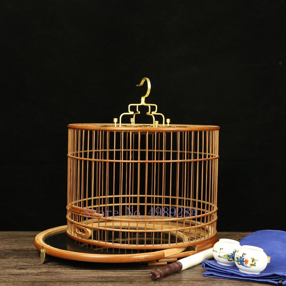 Cage à oiseaux manuelle en bambou auto assemblage polissage cage ronde fond tiroir maison décoration extérieure suspendue perroquet cage nichoir-in Cages à oiseaux et nids from Maison & Animalerie    1