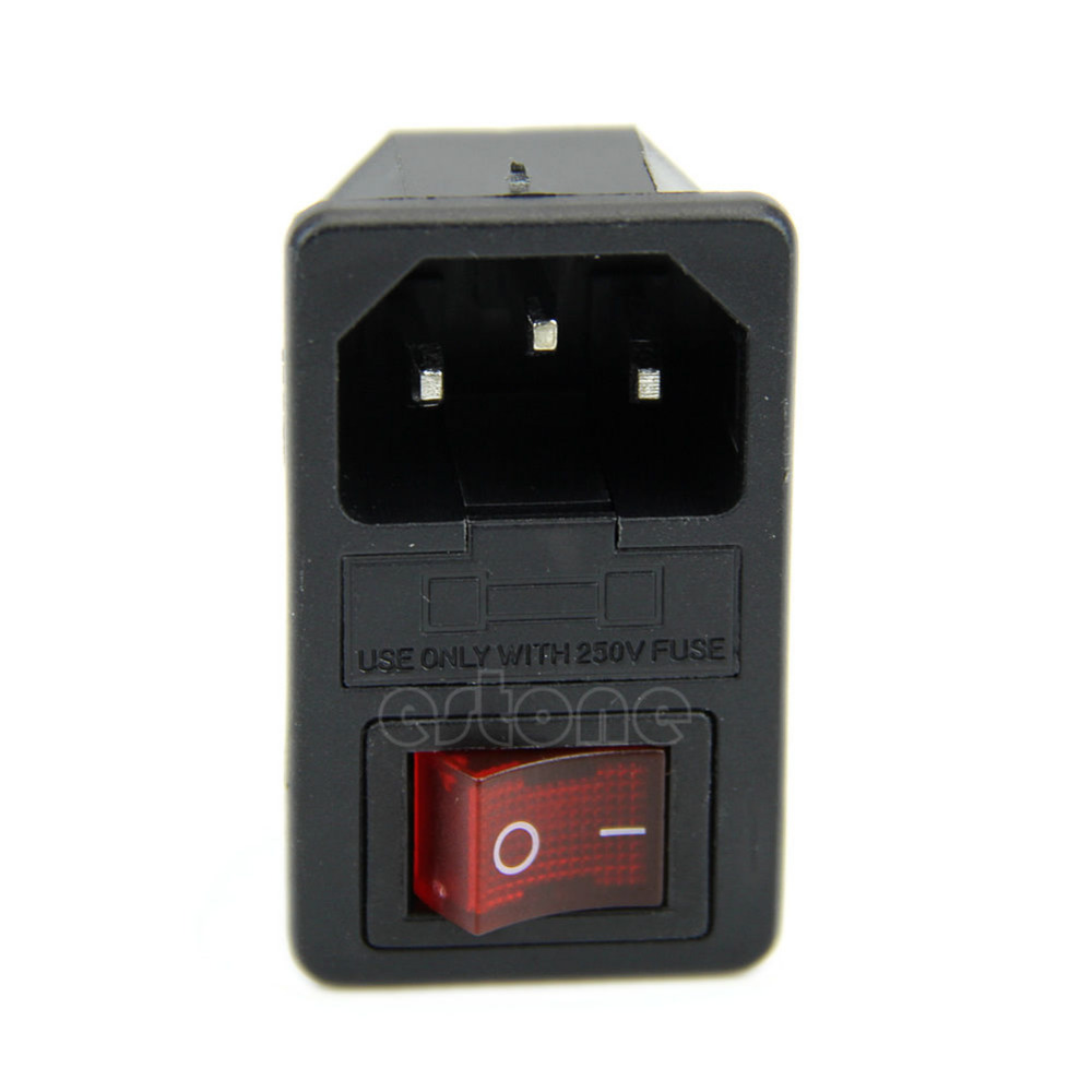 2019 Black Red AC250V 10A 3 Terminal Power Socket with Fuse Holder New