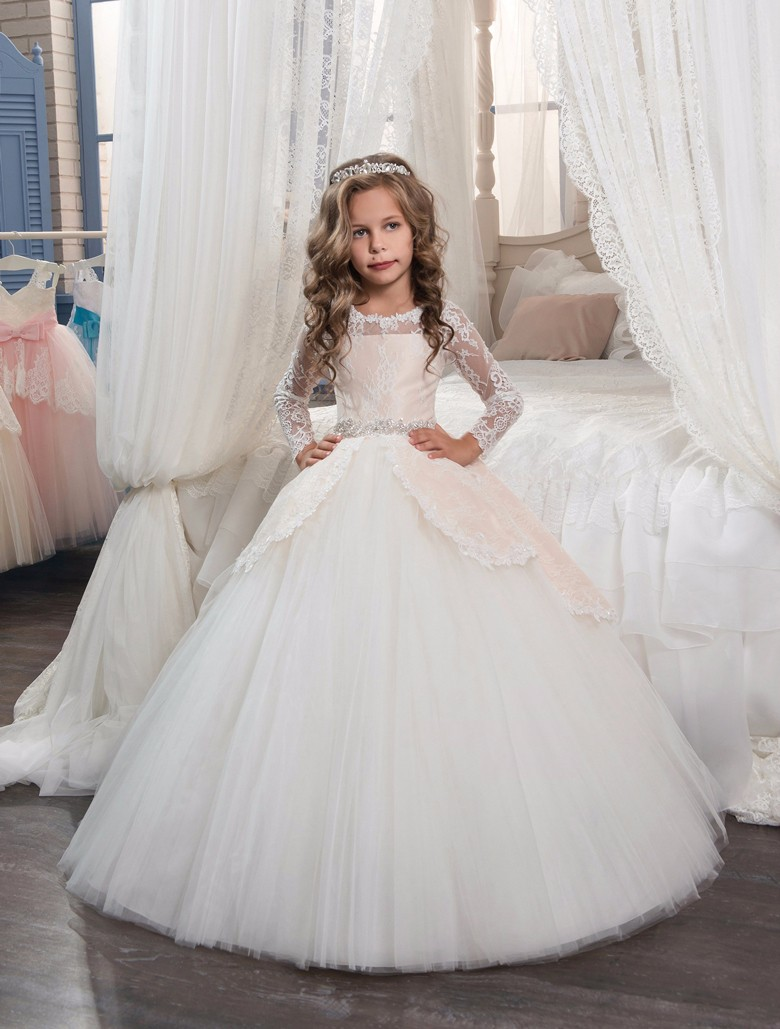 Long Sleeve Flower Girl Dresses for Wedding Ball Gown Mother Daughter Dresse Children Clothing Lace White Kids Dresses for Girls