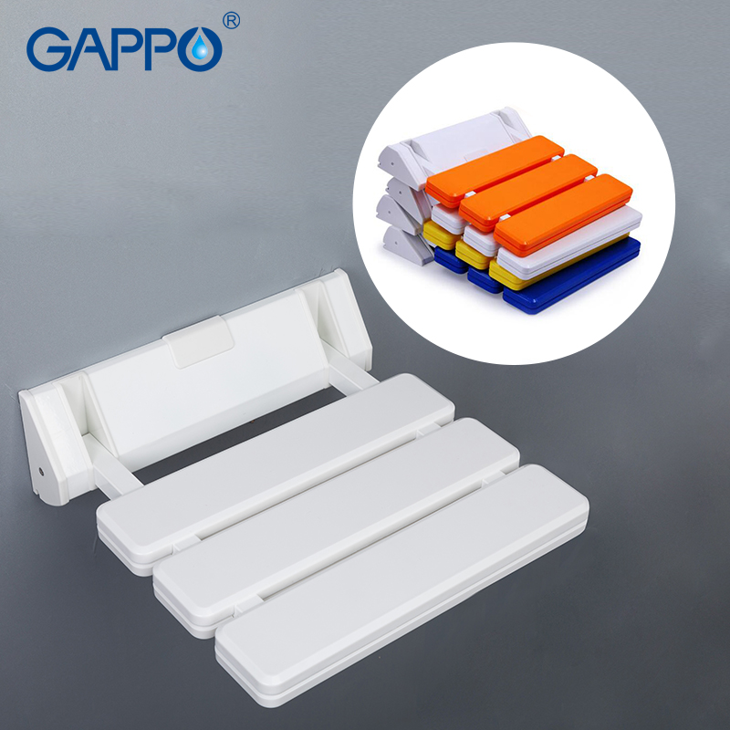 GAPPO Wall Mounted Shower Seats Bathroom Folding Seat Bathroom Stool Toilet Folding Shower Seat Waiting Bath Chair Spa Chair
