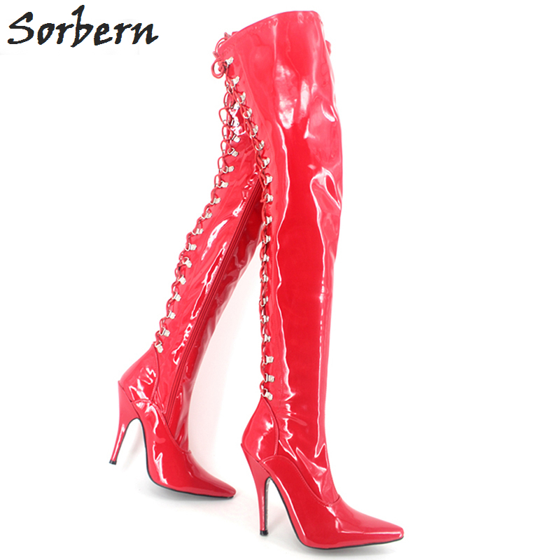 Sorbern Sexy High Heels 12CM Extreme Lace Up Fetish Thigh High Long Boots For Woman Pointed Toe Unisex Dance Party Shoes