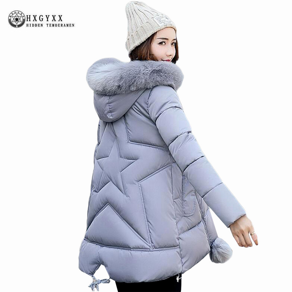 2017 Cotton Winter Coats Big Fur Collar Hooded A-line Thick Warm Jacket loose Plus Size Zipper Parka Women Padded Clothing OK401 2014 new winter women cotton padded down jacket coat hooded loose plus size coats warm thick outwear big pockets ry143