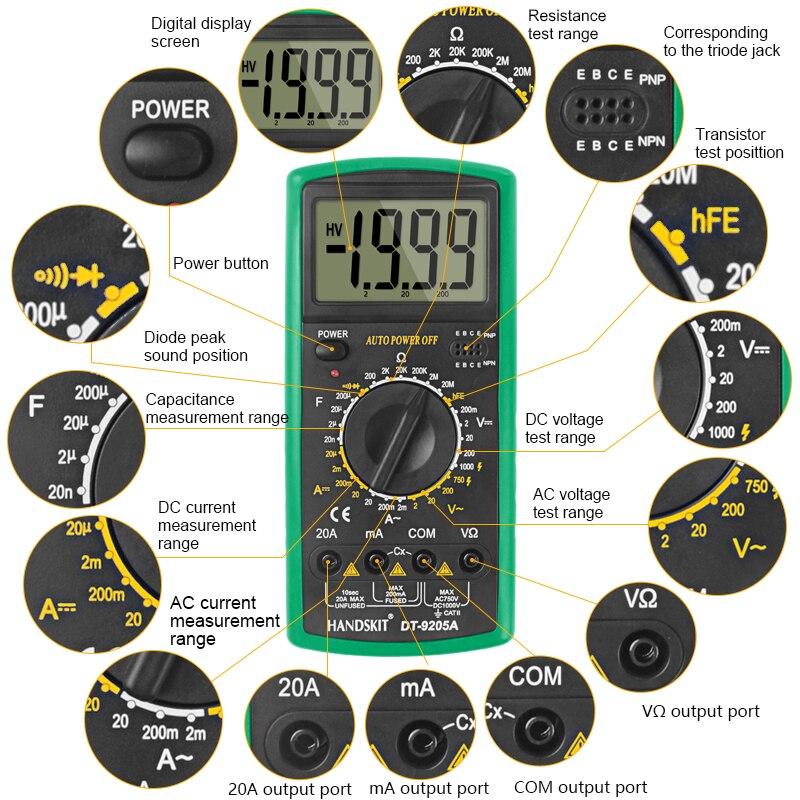 HTB180vGbL1G3KVjSZFkq6yK4XXao Handskit Multimeter AC DC Digital Multimeter Professional Tester Meter Voltmeter Digital LCD Display 2000 counts Meter Tester