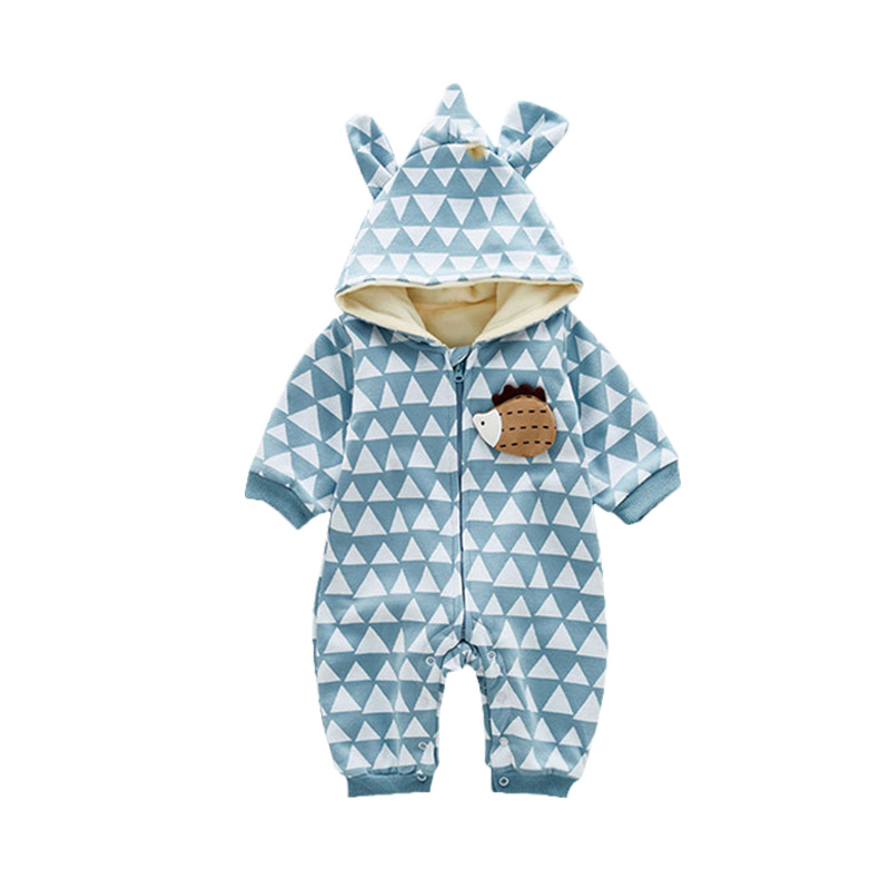 Warm Hooded Winter Fleece Romper Cute Animal Hedgehog Shaped Newborn Cute Boys Girls Jumpsuit Infant Clothes Babies Outfits