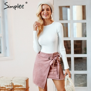 Image 3 - Simplee Asymmetrical split women skirts Elegant lace up bow tie ladies suede short mini skirts Solid black autumn female skirts