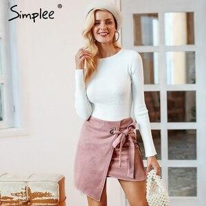 Image 3 - Simplee faldas asimétricas divididas para mujer elegantes con lazo para arriba las faldas cortas de gamuza de las señoras del otoño negro sólido faldas femeninas