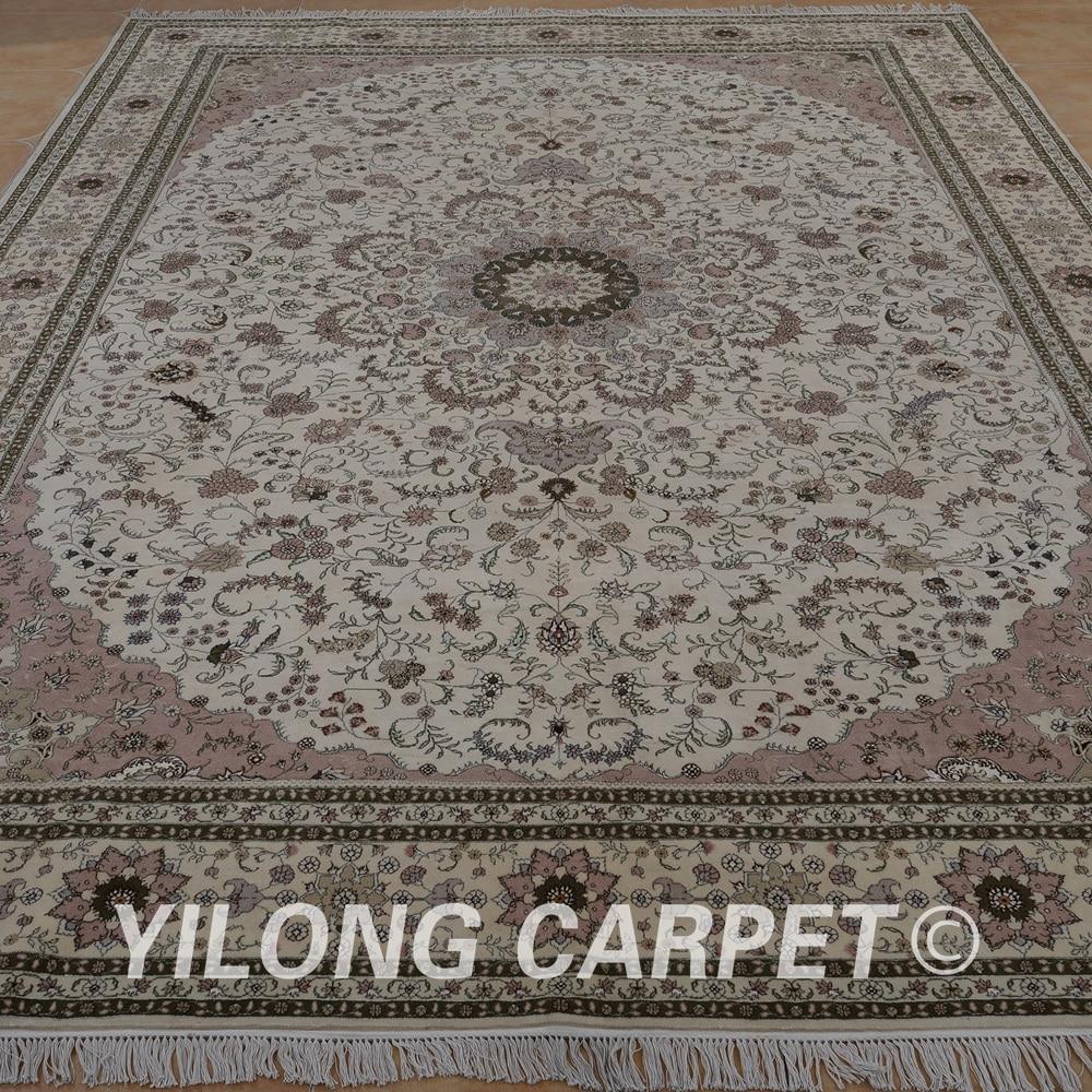 Yilong 10 X14 Persian Wool Silk Carpet Beige Exquisite Traditional