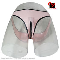 Sexy Latex lingerie Crotch Zipper trims Rubber thong knickers briefs Underpants Underwear pants panty plus size bottoms KZ 024