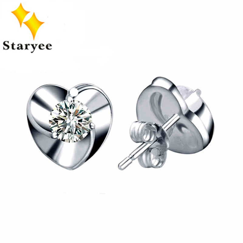 Classic Heart Shape Moissanite Stud Earrings 1 Carat Pure 18K Solid White Gold Fine Jewelry For Women Wedding Gift yoursfs heart necklace for mother s day with round austria crystal gift 18k white gold plated