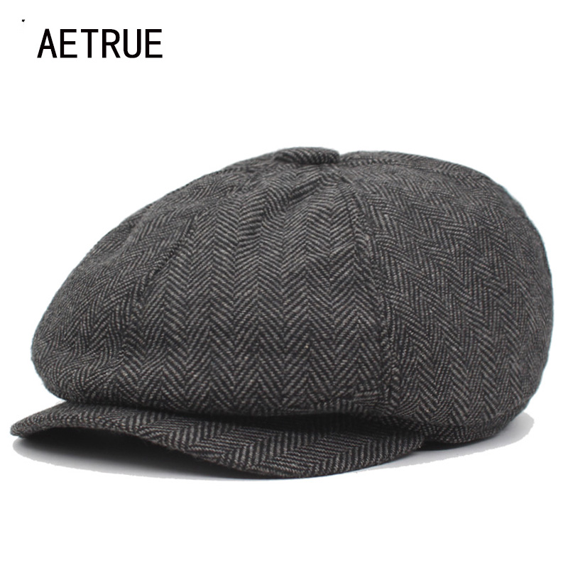 AETRUE Fashion Newsboy Caps Men Beret Hats For Women Male Retro Cotton Winter Boina Striped Female New Spring Octagonal Hat Cap