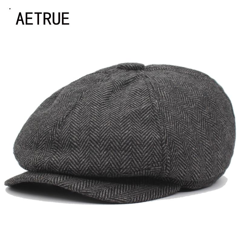 AETRUE Fashion Newsboy Caps Men Beret Hats For Women Male Retro Cotton Winter Boina Striped Female New Spring Octagonal Hat Cap