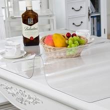Скатерть из ПВХ, кухонная скатерть, масляная стеклянная ткань, мягкая ткань 1,0 мм, может быть настроена на заказ, прозрачная Водонепроницаемая скатерть