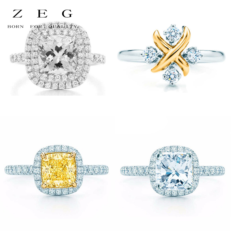 цена на ZEG High Quality 100% Sterling Silver TIFF Original 1:1 Ring Has Logo Women Jewelry Free Mail