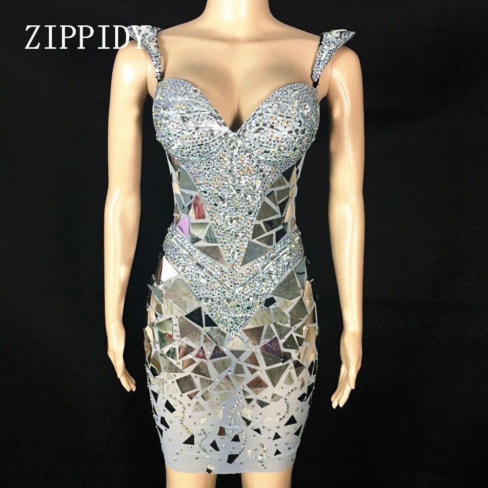Brillant argent paillettes strass robe femmes anniversaire lumineux Sexy Costume bal célébrer Bling miroirs robes tenue de soirée