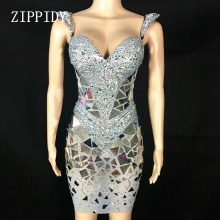 Shining Silver Sequins Rhinestone Dress Women Birthday Bright Sexy Costume Prom Celebrate Bling Mirrors Dresses Evening Outfit women new black white swan shining sequins mirrors sexy dress bodysuit celebrate party leotard performance singer dancer costume