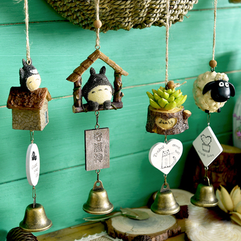 Creative Pastoral Resin Wind Chimes Cartoon Japanese Style Totoro Succulent Door Bell Hanging Decorations Gifts