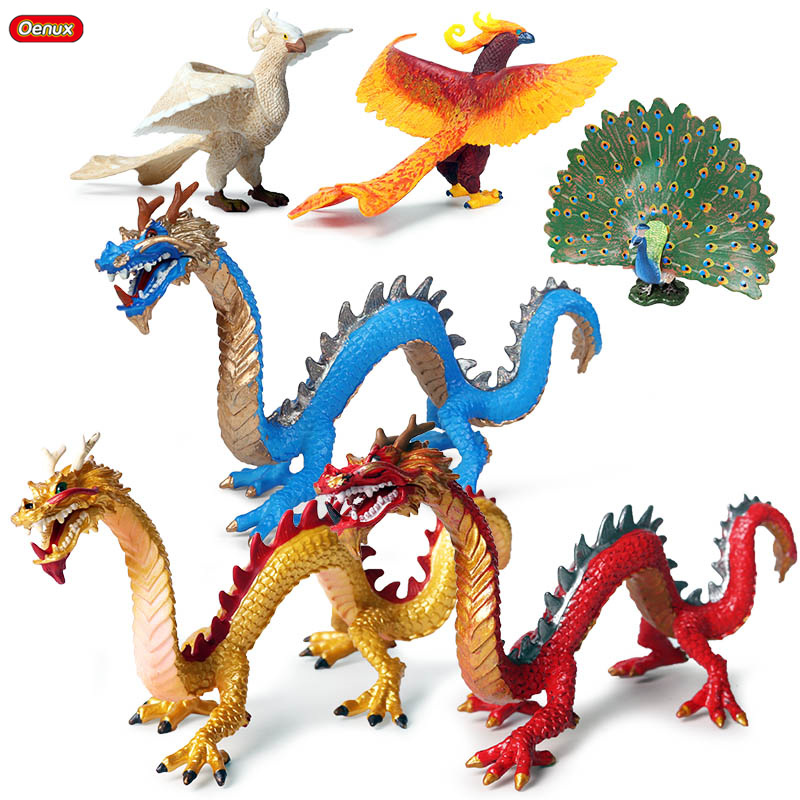Oenux Original Simulation Chinese Dragon Phoenix Red Peacock Action Figures Bird Pvc Lifelike Figurines Education Kids Toy Gift