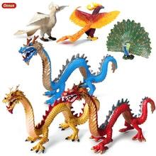 Oenux Original Simulation Chinese Dragon Phoenix Red Peacock Action Figures Bird Pvc Lifelike Figurines Education Kids Toy Gift