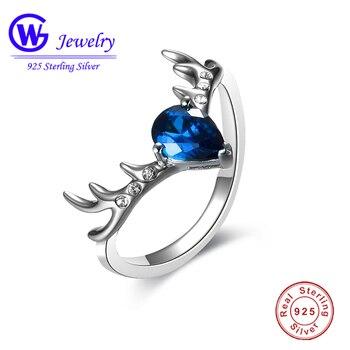 100% стерлингового серебра 925 палец кольцо с голубыми кристаллами Swarovski Аутентичные моды кольцо для Для женщин день матча и ночного ношения