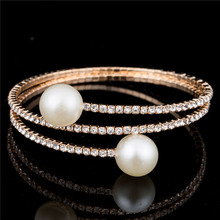 hot deal buy classic simple double pearl bangles women zircon inlaid adjustable gold silver bracelets&bangles fashion simple jewelry wedding