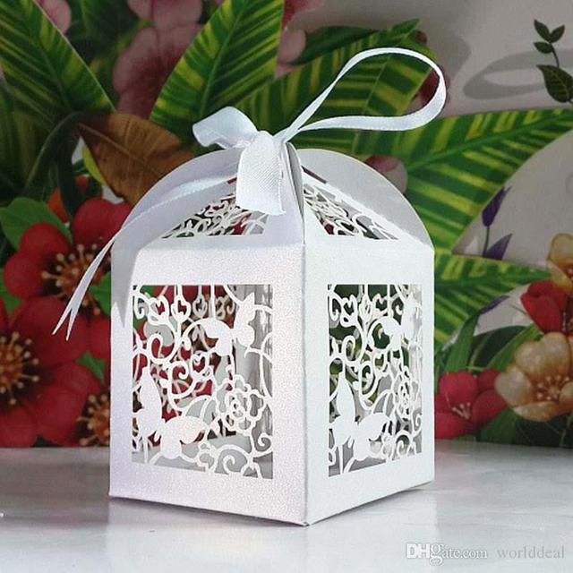 100pcslot Butterfly Hollow Candy Box Pearlescent Sweetbox Fancy