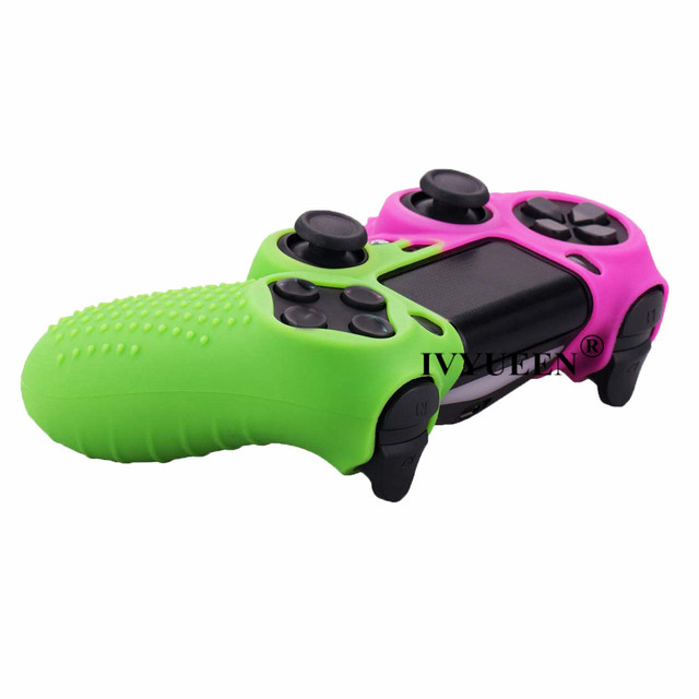 IVYUEEN Silicone Cover Skin for Dualshock 4 PS4 Pro Slim Controller Case and Thumb Grips Caps for PlayStation 4 Game Accessories 3
