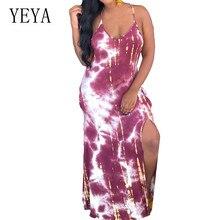 YEYA Tie Dyeing Print Mopping Floor-length Dress Sexy V-neck Sleeveless Hollow Out Beach Dress Summer Spaghetti Strap Vestidos self tie v neck spaghetti strap t shirt