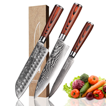 SUNNECKO 3PCS Kitchen Knives Set Santoku Utility Chef Cutter Knife Damascus  Japanese VG10 Steel Pakka Wood Handle Cooking Tools
