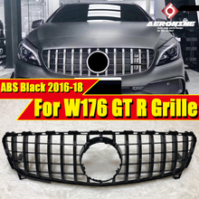 A Class W176 A45amg look grille grill Black & Chrome A180 A200 A250 Sports Front Bumper Grills GT R style without sign 2016-2018