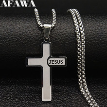 2019 Silver Color Stainless Steel Collar Necklaces for Women Jewelry JESUS CROSS collares N18911