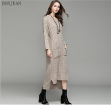 Robe Full Dress Dress Free Shipping Europe 2018 Autumn And New Warm Simple Fashion Twisting Flowers Lengthened Knitted