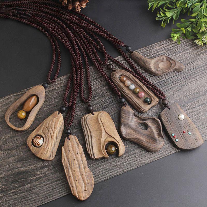 JAVRICK 6 Types Handmade Natural Sandalwood Pendant Necklace Long Sweater Lady Women Chain Fashion Decoration Jewelry
