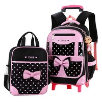 2pcs sets School Trolley backpack school bag for girls school bag 2 wheels for girls kid wheeled luggage Bags Backpacks Mochila