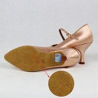 Women Standard Dance Shoes BD 138 ClASSIC Fresh Tan Satin High Low Heel Ladies Ballroom Dance Shoes Soft Outsole Modern Dance 5