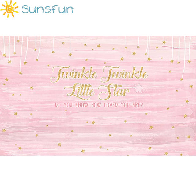 Sunsfun 7x5ft Girls Birthday Backdrops Baby Shower Background Twinkle  Twinkle Little Star Pink Gold Banner Backdrop 220x150cm