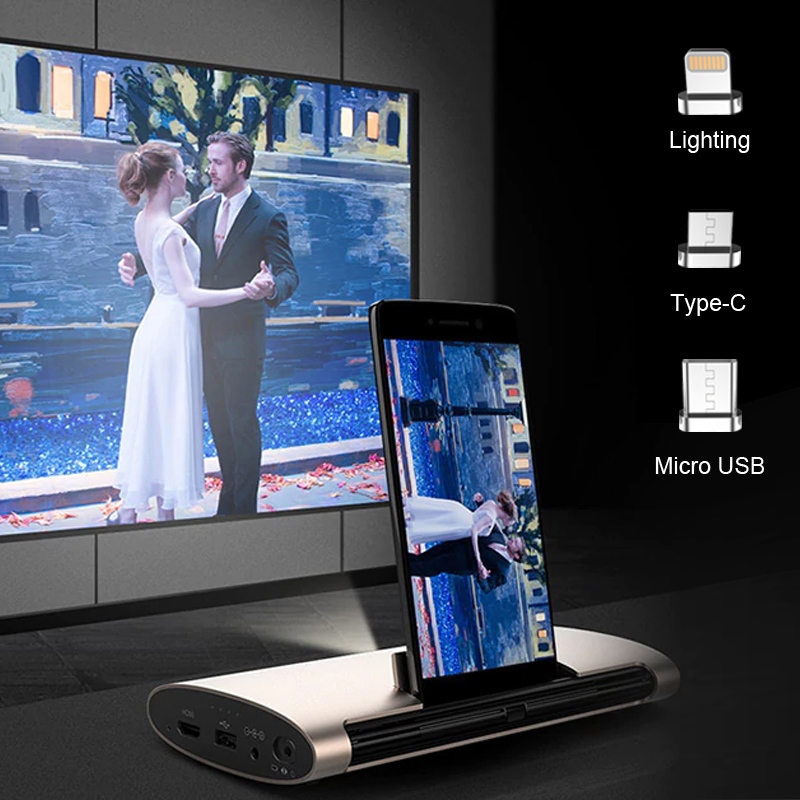 JMGO M6, Android 7 0, Mini Projector, 200 ANSI Lumens, Home Theater  Projector  Support 1080P,4k Video, 5400mAh battery,Laser Pen