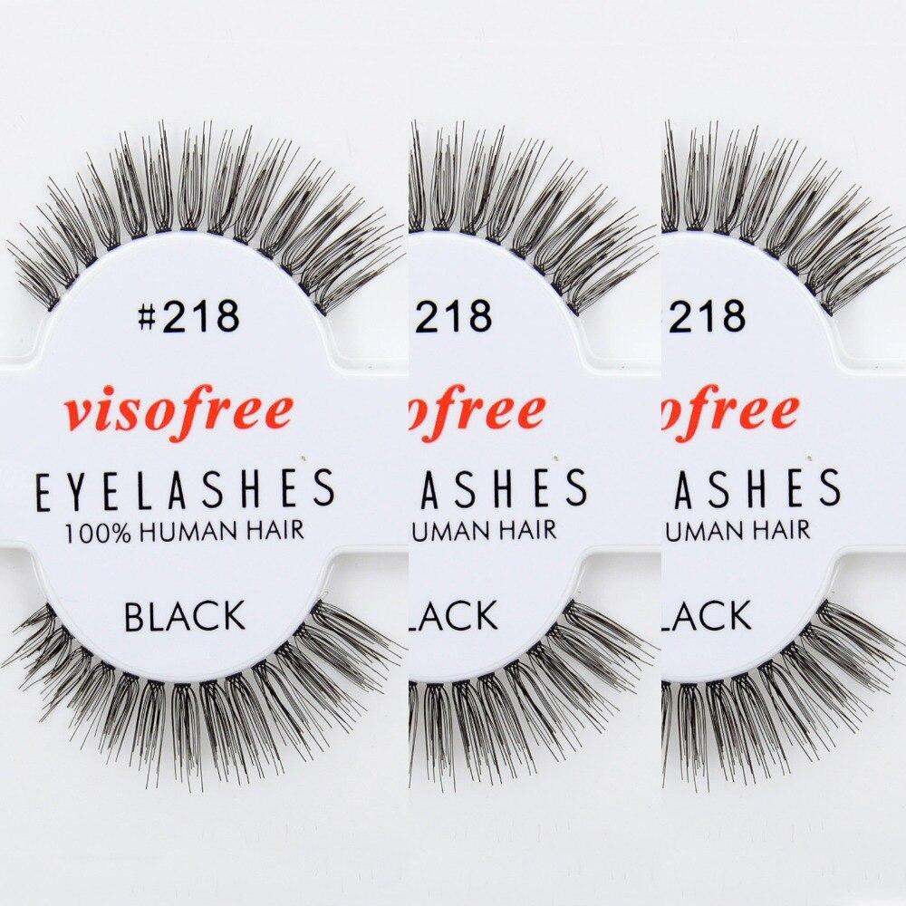 e3ea9308a 12 زوج/وحدة visofree اليدوية الرموش الصناعية 100% الإنسان الشعر فوضوي  الطبيعة رموش #218 maquiagem