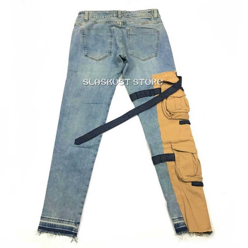 Hohe Qualität Vintage Gewaschen Schlank Stretch Denim Jeans Khaki Tasche Patch Belastend Biker Jeans Acht Taschen Styling